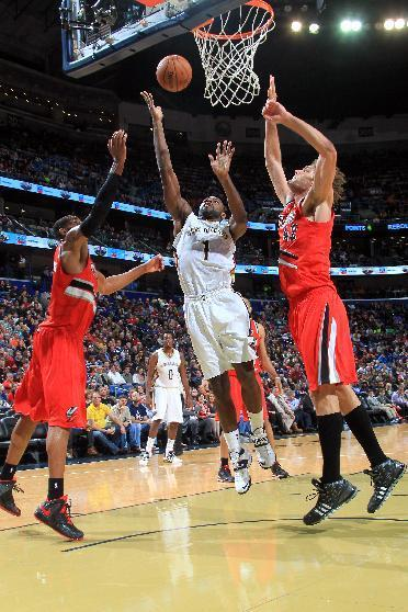 NEW ORLEANS, LA - DECEMBER 30: Tyreke Evans #1 of the New Orleans Pelicans shoots against the Portland Trail Blazers on December 30, 2013 at the New Orleans Arena in New Orleans, Louisiana. (Photo by Layne Murdoch/NBAE via Getty Images)