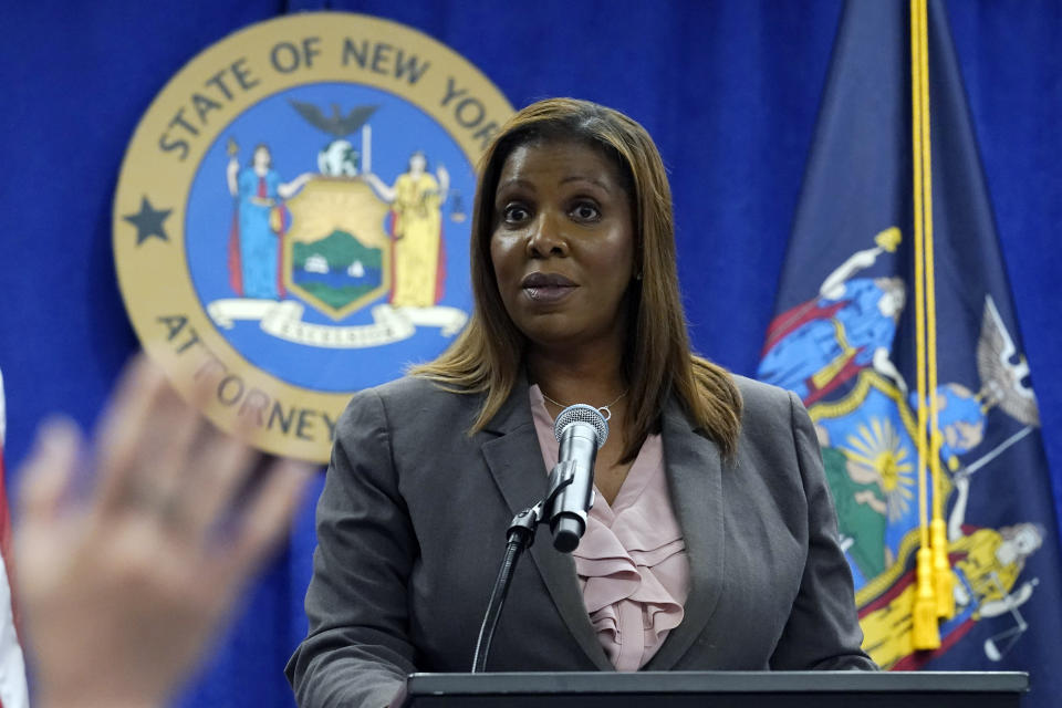 """New York Attorney General Letitia James addresses a news conference at her office, in New York, Friday, May 21, 2021. James said Friday that an ongoing investigation surrounding Gov. Andrew Cuomo will """"conclude when it concludes,"""" and said she has ignored criticism from his top aide that the probe is politically motivated. (AP Photo/Richard Drew)"""