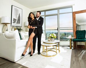 XiXi Yang and her fiancé Dr. William Puetz photographed by Malik Daniels at their Los Angeles home designed by LA Furniture Store