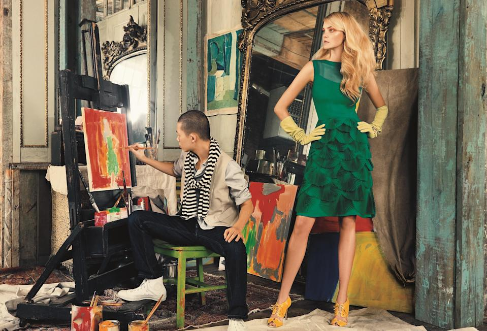Jason Wu with Caroline Trentini in one of his designs, photographed for Vogue's annual CVFF portfolio.