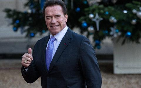 Arnold Schwarzenegger arrives at the Elysee Palace for a lunch as part of the One Planet Summit on December 12 - Credit: Aurelien Morissard/Getty