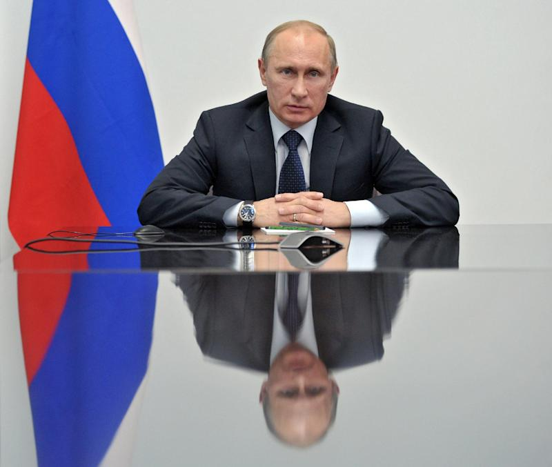 Russian President Vladimir Putin speaks during his meeting with local officials in Ulan-Ude, Buryatia, southern Siberia, Russia  on Thursday, April 11, 2013. (AP Photo/RIA Novosti, Alexei Nikolsky, Presidential Press Service, Pool)