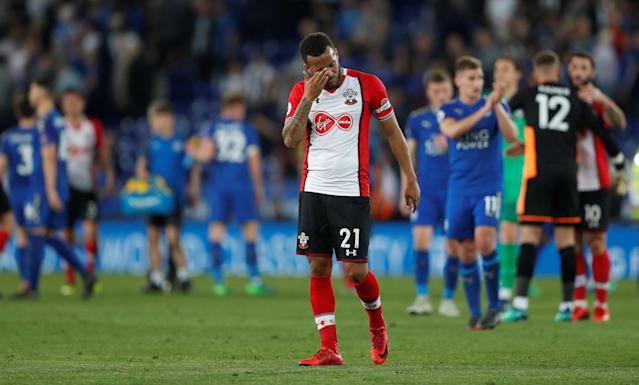 "Soccer Football - Premier League - Leicester City vs Southampton - King Power Stadium, Leicester, Britain - April 19, 2018 Southampton's Ryan Bertrand looks dejected after the match Action Images via Reuters/Matthew Childs EDITORIAL USE ONLY. No use with unauthorized audio, video, data, fixture lists, club/league logos or ""live"" services. Online in-match use limited to 75 images, no video emulation. No use in betting, games or single club/league/player publications. Please contact your account representative for further details."