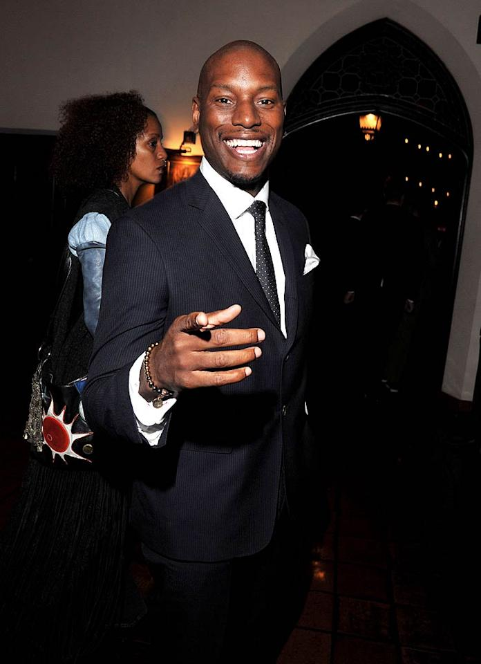 """Another guy with a penchant for pointing, """"Transformers"""" muscle man Tyrese Gibson, hit up the party too. (11/17/2011)"""