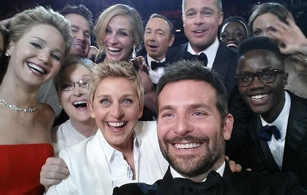Brad and Jen are both in THAT famous selfie from the Oscars. Source: Getty
