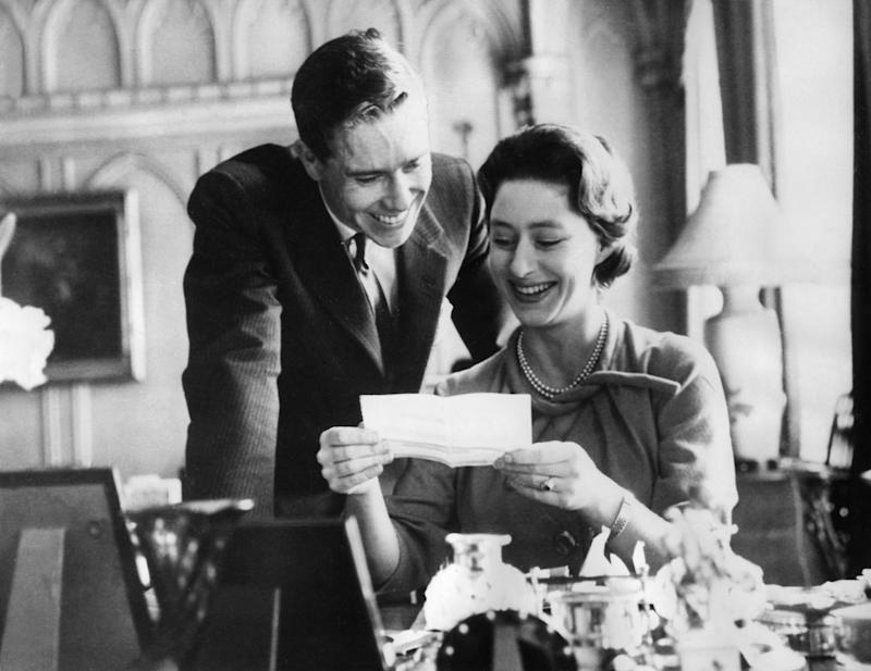 Five years after her engagement to Group Captain Peter Townsend fell apart, Queen Elizabeth's sister, Princess Margaret, received a ruby engagement ring that was designed by her future husband, photographer Antony Armstrong-Jones. The ruby surrounded by diamonds was created to look like a rosebud in honor of the princess's middle name: Rose.