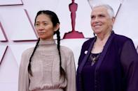 """Nomadland"" starred multiple real-life nomads who played themeslves, including Charlene Swankie (R) who arrived at the Oscars with director Chloe Zhao (L)"