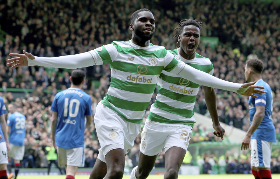 Celtic's Odsonne Edouard celebrates scoring his side's first goal during the Scottish Premiership soccer match between Celtic and Rangers at Celtic Park, in Glasgow, Scotland, Sunday April 29, 2018. Celtic have won the Scottish Premiership league. (Jane Barlow/PA via AP)
