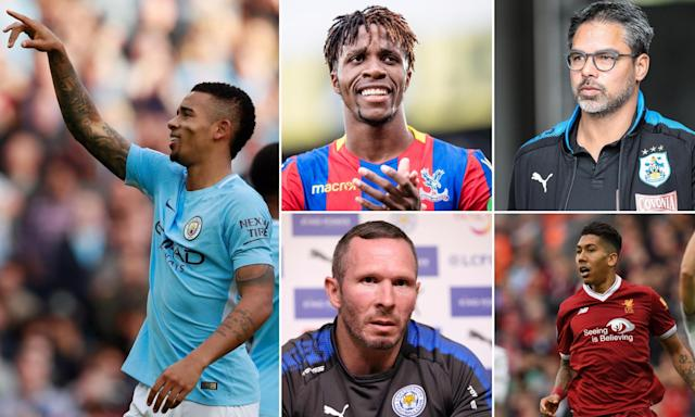 In action this weekend (clock from top): Wilfried Zaha, David Wagner, Roberto Firmino, Michael Appleton and Gabriel Jesus.