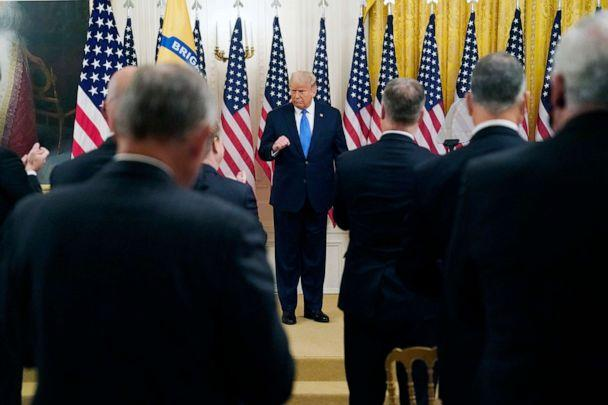 PHOTO: President Donald Trump speaks during an event to honor Bay of Pigs veterans, in the East Room of the White House, Sept. 23, 2020, in Washington. (Evan Vucci/AP)