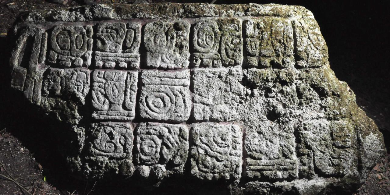 "A photograph released to Reuters on August 22, 2014 shows a piece of a stela from an ancient Mayan city in Lagunita May 17, 2014. Archaeologists have found two ancient Mayan cities hidden in the jungle of southeastern Mexico, and lead researcher Ivan Sprajc, an associate professor at the Research Center of the Slovenian Academy of Sciences and Arts, says he believes there are ""dozens"" more to be found in the region. Picture taken May 17, 2014. REUTERS/Research Center of the Slovenian Academy of Sciences and Arts/Handout via Reuters (MEXICO - Tags: SOCIETY) NO SALES. NO ARCHIVES. FOR EDITORIAL USE ONLY. NOT FOR SALE FOR MARKETING OR ADVERTISING CAMPAIGNS. THIS IMAGE HAS BEEN SUPPLIED BY A THIRD PARTY. IT IS DISTRIBUTED, EXACTLY AS RECEIVED BY REUTERS, AS A SERVICE TO CLIENTS"
