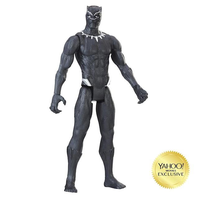 """<p>""""The battles are bigger and the stakes are higher with these 12-inch scale figures from the Tithan Hero Series line! Charge into battle to defend Wakanda with movie-inspired figures, featuring five points of articulation. Choose between Black Panther or Erik Killmonger. $9.99 (Photo: Hasbro) </p>"""