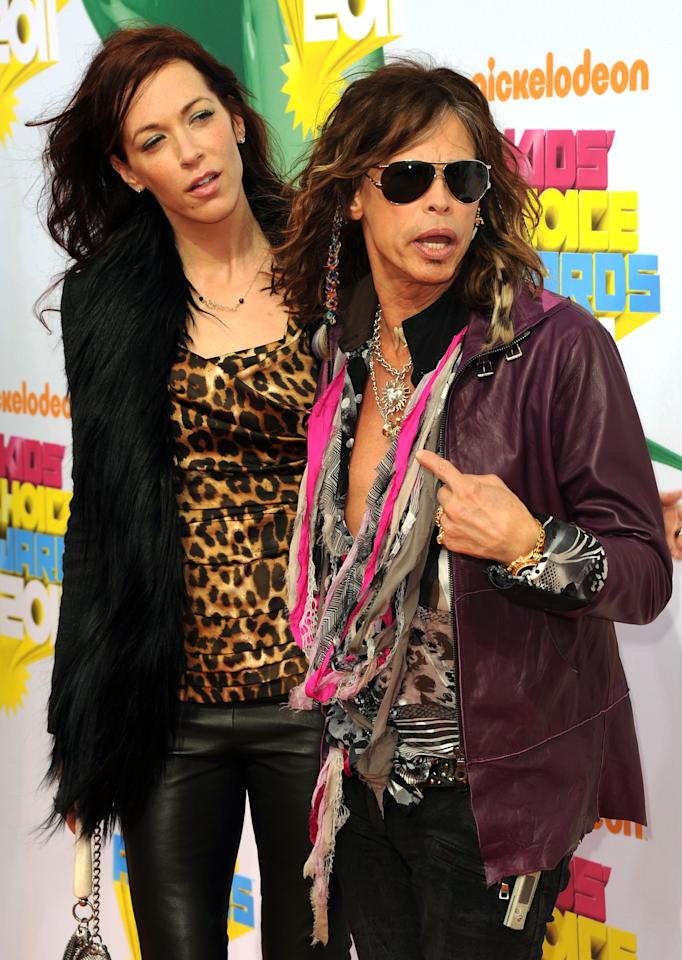LOS ANGELES, CA - APRIL 02:  Musician Steven Tyler (R) and Erin Brady arrive at Nickelodeon's 24th Annual Kids' Choice Awards at Galen Center on April 2, 2011 in Los Angeles, California.  (Photo by Jason Merritt/Getty Images)