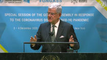 In this image made from UNTV video, United Nations General Assembly President Volkan Bozkır speaks during the U.N. General Assembly's special session to discuss the response to COVID-19 and the best path to recovery from the pandemic, Thursday, Dec. 3,2020, at U.N. headquarters, in New York. (UNTV via AP)