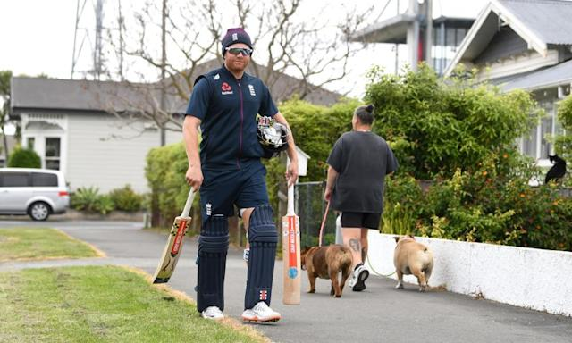 """<span class=""""element-image__caption"""">Jonny Bairstow, on his way to a nets session in Napier, could find his hopes of a Test return dashed by Joe Denly's recovery.</span> <span class=""""element-image__credit"""">Photograph: Gareth Copley/Getty Images</span>"""