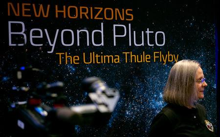 New Horizons Mission Operations Manager Alice Bowman of the Johns Hopkins University Applied Physics Laboratory is seen before a news conference after the team received confirmation from the New Horizons spacecraft that it has completed the flyby of Ultim