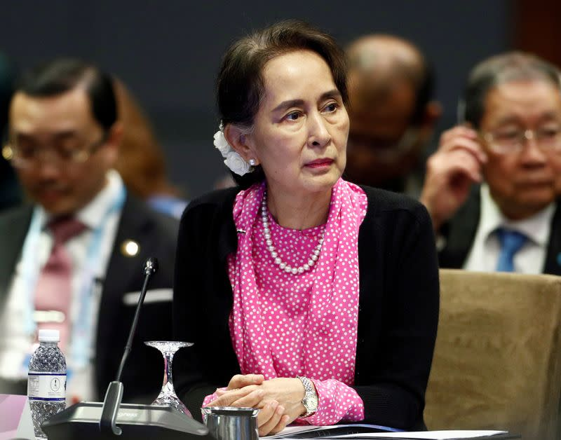 Myanmar's leader Aung San Suu Kyi attends the ASEAN-China Summit in Singapore
