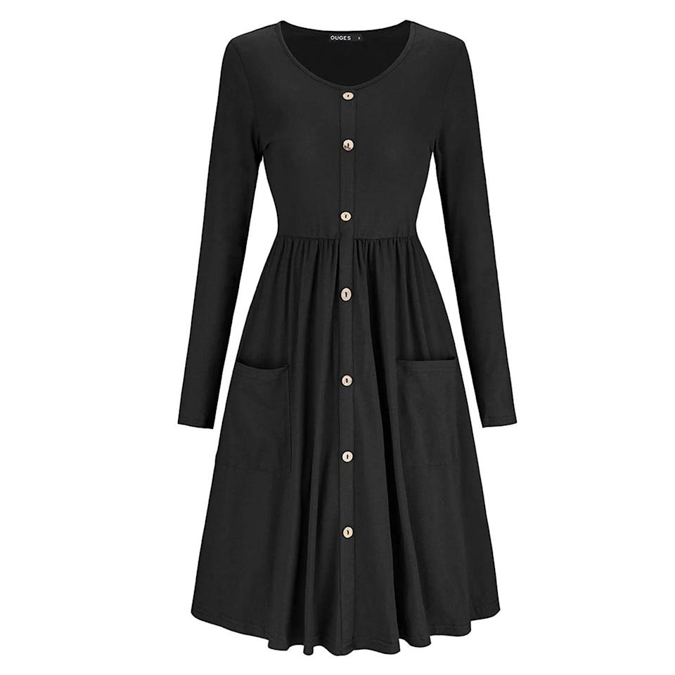 """<h2>Amazon Ouges Button Front Pocket Dress</h2><br>We like to think that we've turned up every serviceable dress on Amazon, but when it comes to the award-winning best bets at the massive e-commerce destination, we let the reviews do the talking. Time and again, this simple and universally flattering cotton frock has risen to the top of our readers' wish lists, thanks to 5,600 reviews, a 4.3-star rating, and scores of customer images showing the dresses on a variety of body types.<br><br><strong>Ouges</strong> Button Front Pocket Dress, $, available at <a href=""""https://www.amazon.com/OUGES-Womens-Sleeve-Button-Pockets/dp/B07DVPJL2F/ref=zg_bsms_fashion_18"""" rel=""""nofollow noopener"""" target=""""_blank"""" data-ylk=""""slk:Amazon"""" class=""""link rapid-noclick-resp"""">Amazon</a>"""