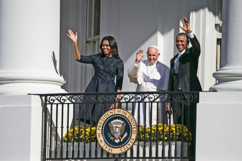 "<p>The first lady wore a version of a fall runway look from Monique Lhullier to greet Pope Francis in Washington, DC, for his historic visit. ""When I saw it this morning, it was very impactful. This milestone, Pope Francis' first visit to this country is very monumental,"" <a href=""https://www.yahoo.com/style/monique-lhuillier-didnt-tell-her-husband-she-made-129725172989.html"" data-ylk=""slk:the designer said;outcm:mb_qualified_link;_E:mb_qualified_link;ct:story;"" class=""link rapid-noclick-resp yahoo-link"">the designer said</a>. ""It was perfect and I think the dress looks beautiful on her and so appropriate and flattering. It really was a wonderful moment for me, having been raised Catholic.""</p>"