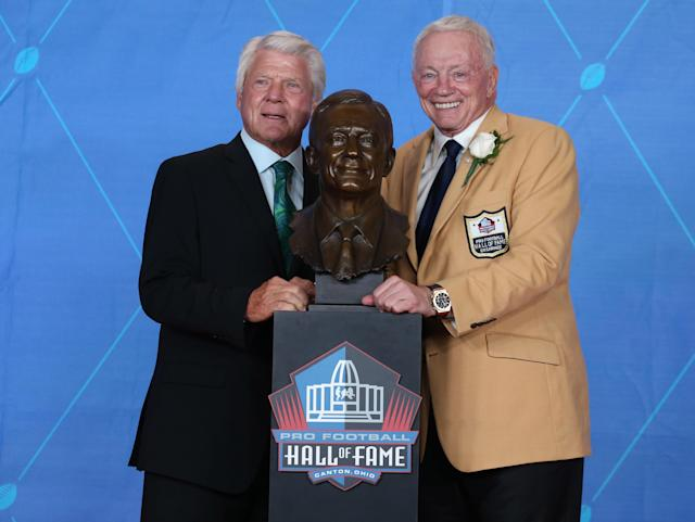 Jimmy Johnson showed up for Jerry Jones' Hall enshrinement. Will Jones return the favor? (Charles LeClaire/Reuters)