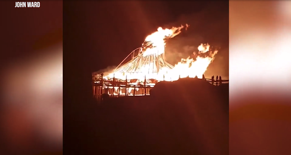 Flames engulfed the roundhouse structure at the Scottish Crannog Centre on Friday evening (Screengrab)