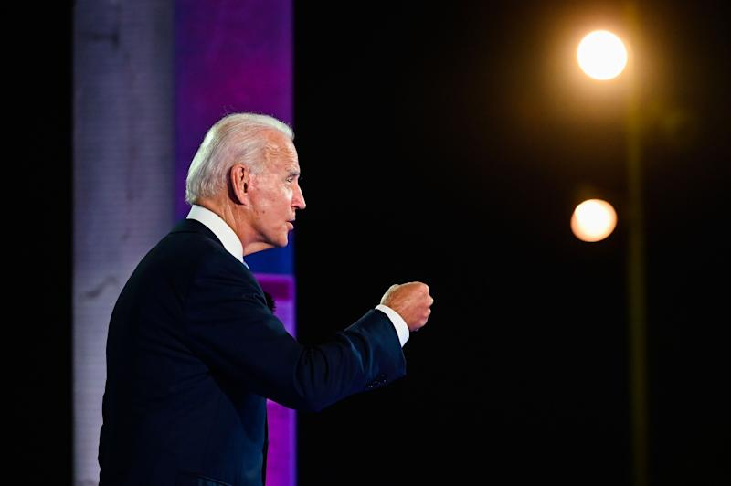 Democratic presidential nominee and former Vice President Joe Biden participates in an NBC Town Hall event at the Perez Art Museum in Miami, Florida on October 5, 2020. (Photo by ROBERTO SCHMIDT / AFP) (Photo by ROBERTO SCHMIDT/AFP via Getty Images)