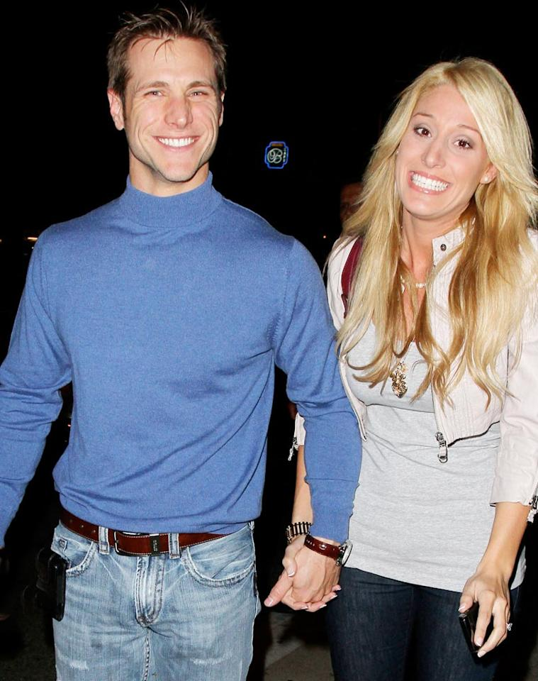 """The Bachelor's"" Jake Pavelka showed off his inner dork in an unflattering baby blue turtleneck while out at Koi in LA with his brand new fiancee Vienna Girardi. See that look on her face, Jake? She's like, ""Yep, I'm stuck with <i>him</i>."" Anthony/<a href=""http://www.pacificcoastnews.com/"" target=""new"">PacificCoastNews.com</a> - March 3, 2010"