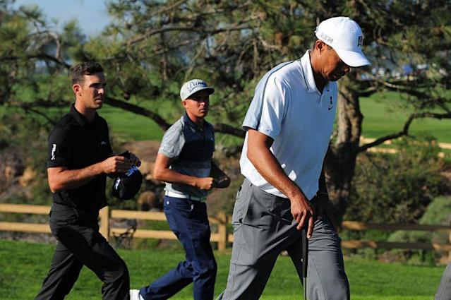 Tiger Woods, once dominant on the course, is barely a shadow of his former self. (Getty)