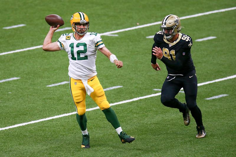 Aaron Rodgers won the night, both in ratings and against the Saints. (Photo by Sean Gardner/Getty Images)