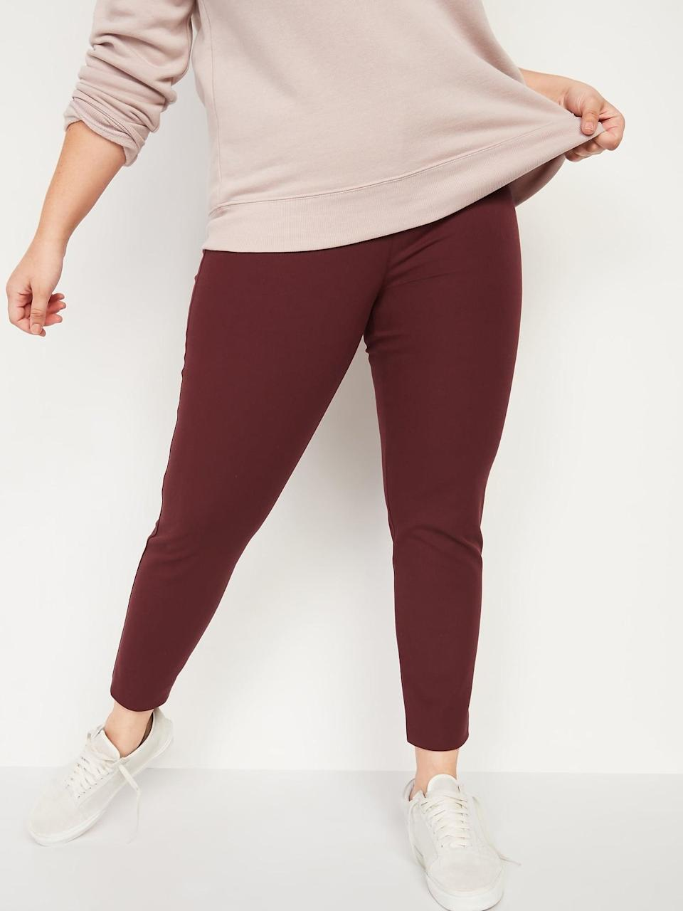 <p>Fine, we'd happily wear these cranberry-colored <span>Old Navy High-Waisted Pixie Ankle Pants</span> ($30, originally $40) all the way to the winter holidays, too.</p>