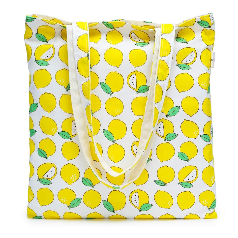 """<br> <br> <strong>Gorlos</strong> Canvas Tote Bag, Lemon, $, available at <a href=""""https://amzn.to/2C0XyWz"""" rel=""""nofollow noopener"""" target=""""_blank"""" data-ylk=""""slk:Amazon"""" class=""""link rapid-noclick-resp"""">Amazon</a>"""