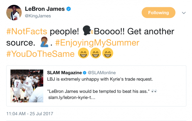 And maybe LeBron James wouldn't be tempted to beat Kyrie Irving's behind, either. (Twitter)
