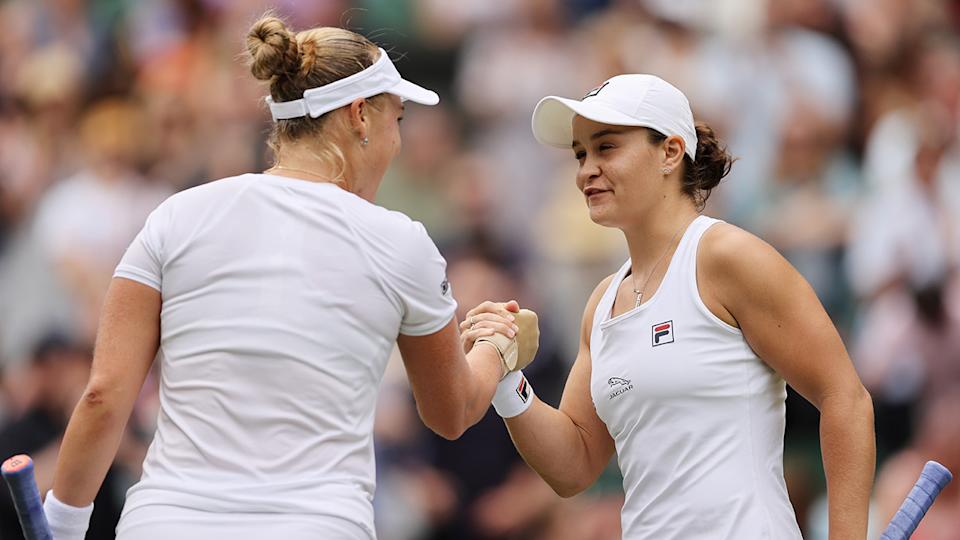 Ash Barty, pictured here shaking hands with Anna Blinkova after their Wimbledon match.