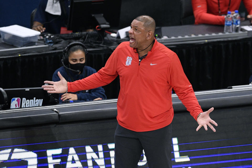 Philadelphia 76ers head coach Doc Rivers reacts during the first half of Game 4 in a first-round NBA basketball playoff series against the Washington Wizards, Monday, May 31, 2021, in Washington. (AP Photo/Nick Wass)