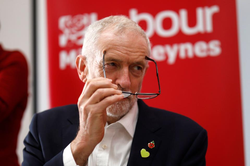 Britain's Labour Party leader Jeremy Corbyn gestures at a campaign event in Milton Keynes, southern England on October 31, 2019. - Britain will go to the polls on December 12 in a bid to unlock the protracted Brexit deadlock. (Photo by Tolga Akmen / AFP) (Photo by TOLGA AKMEN/AFP via Getty Images)