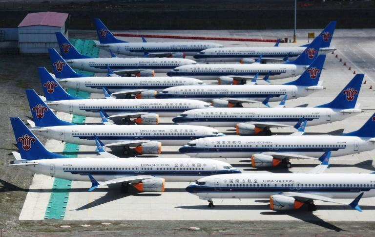 Grounded China Southern Airlines Boeing 737 MAX aircraft parked at Urumqi airport, in China's western Xinjiiang region in 2019