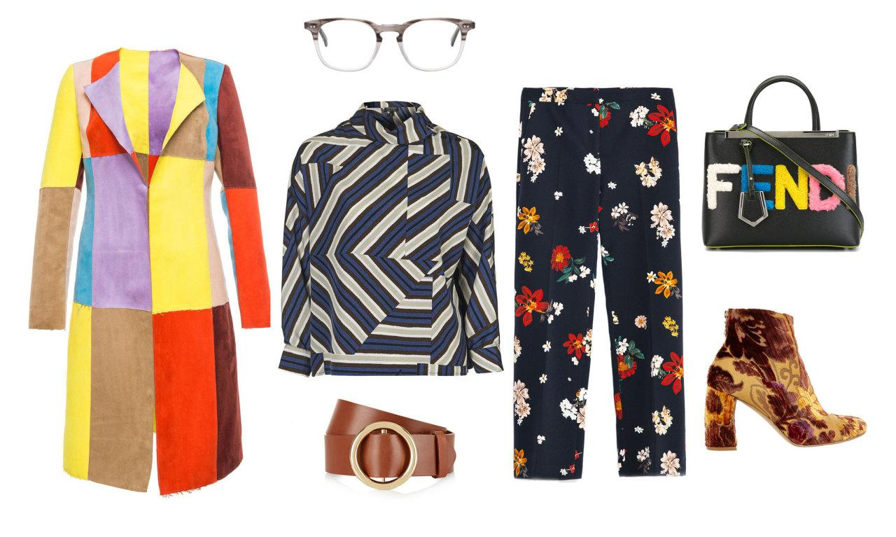 Go big, bold, and colorful or go home! Maximalists love bright colors, clashing patterns, and a mix of textures. Throw on a pair of glasses for a nod to Gucci and an ornate floral bootie à la Dries Van Noten.