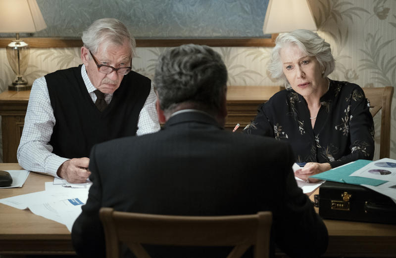 "This image released by Warner Bros. Pictures shows Ian McKellen, left, and Helen Mirren in a scene from ""The Good Liar."" (Chia James/Warner Bros. Pictures via AP)"