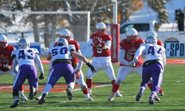 The Acadia Axemen are seen in this file photo against the Bishop's Gaiters. (Peter Oleskevich - image credit)