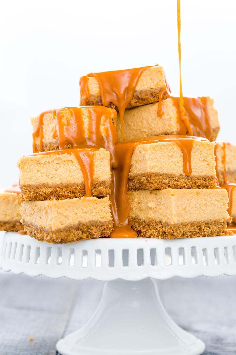 """<p>With a warm glaze, these cheesecake bars are a butterscotch lover's dream.</p><p>Get the recipe from <a href=""""https://www.delish.com/cooking/recipe-ideas/recipes/a43591/butterscotch-cheesecake-bars-recipe/"""" rel=""""nofollow noopener"""" target=""""_blank"""" data-ylk=""""slk:Delish"""" class=""""link rapid-noclick-resp"""">Delish</a>.</p>"""