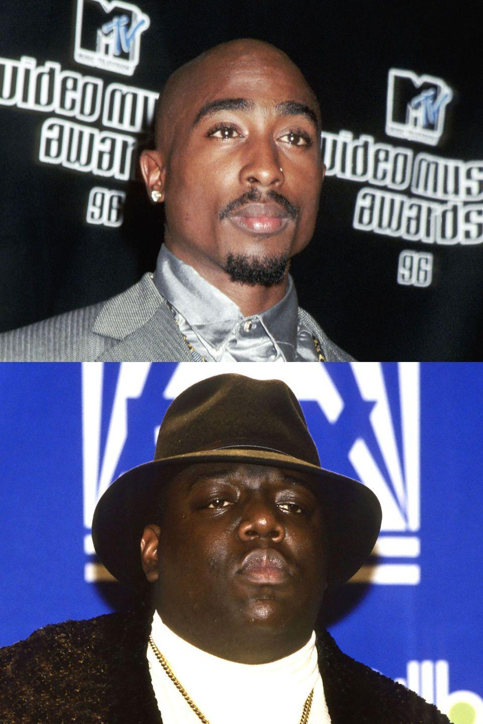 "<p>After Tupac was shot in Manhattan, Biggie released the track ""Who Shot Ya?"", which the former interpreted as a diss track. He responded in turn with multiple disses of his own, heating up a coastal rap war. Of course, this epic feud came to an end in September of '96, when Tupac was shot and killed in a drive-by. Six months after that, Biggie suffered the same fate. Both deaths <a href=""http://www.latimes.com/local/lanow/la-me-ln-biggie-smalls-unsolved-20170309-story.html"" rel=""nofollow noopener"" target=""_blank"" data-ylk=""slk:remain officially unsolved"" class=""link rapid-noclick-resp"">remain officially unsolved</a>.</p>"