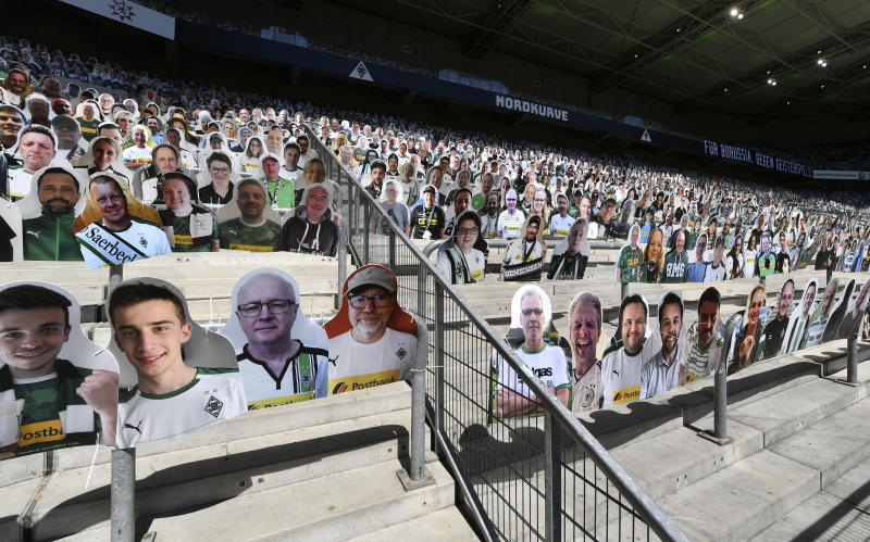 MOENCHENGLADBACH, GERMANY - MAY 31: Cardboard cut outs with photos of Moenchengladbach fans are displayed in the empty stands prior to the Bundesliga match between Borussia Moenchengladbach and 1. FC Union Berlin at Borussia-Park on May 31, 2020 in Moenchengladbach, Germany. (Photo by Martin Meisner/Pool via Getty Images)