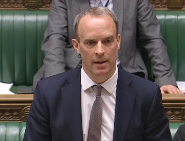 Foreign secretary Dominic Raab told the House of Commons that Brexit is going ahead as scheduled (PA Images via Getty Images)