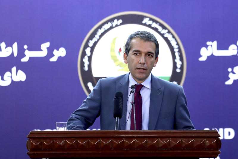 Afghan Presidential Spokesman Sediq Seddqi gives a press conference in Kabul, Afghanistan, Saturday, Sept. 14, 2019. Seddqi said that the priority for his government is to hold national elections later this month - rather than reach a peace deal with insurgents. (AP Photo/Ebrahim Noroozi)