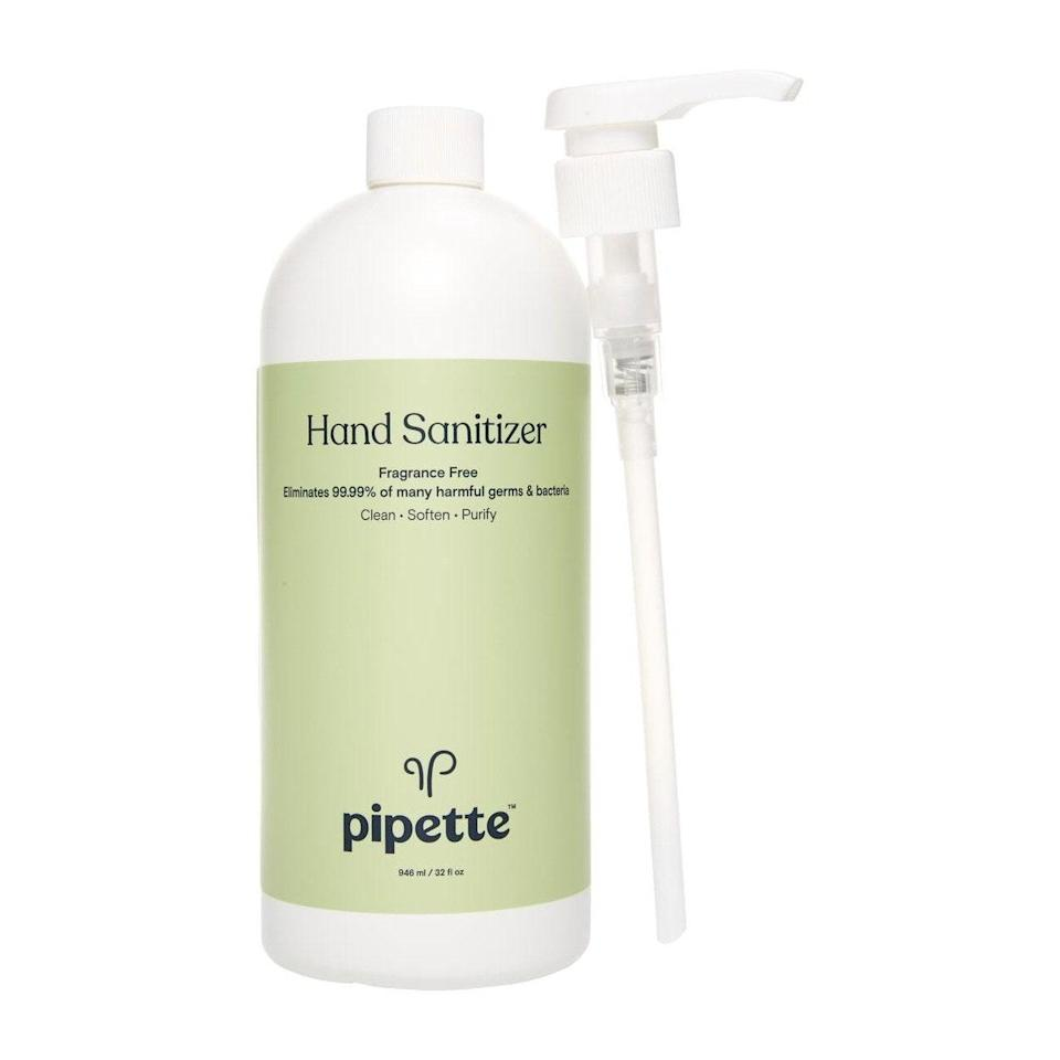 """Pipette's <a href=""""https://www.allure.com/gallery/best-fragrance-free-skin-care-products?mbid=synd_yahoo_rss"""" rel=""""nofollow noopener"""" target=""""_blank"""" data-ylk=""""slk:fragrance-free"""" class=""""link rapid-noclick-resp"""">fragrance-free</a> offering eliminates 99.99 percent of bacteria, thanks to 65 percent ethyl alcohol and its hero ingredient, <a href=""""https://www.allure.com/story/squalane-vs-squalene-skin-care-difference?mbid=synd_yahoo_rss"""" rel=""""nofollow noopener"""" target=""""_blank"""" data-ylk=""""slk:sugarcane-derived squalane"""" class=""""link rapid-noclick-resp"""">sugarcane-derived squalane</a>, so your hands stay super soft. It first launched in an eight-ounce bottle but Pipette also sells <a href=""""https://cna.st/affiliate-link/r6wFKS8kFhUjk19Vtvq2DFbufi4yq7RxF1pgoJyBchuAX9MGEMWCZm9Y48Aex71jZGSNdH7xUvXP1oA5eTLXDTushmDnN5RdzE4BjrRdj2tovB3rq?cid=5ea08f38592052000826b58e"""" rel=""""nofollow noopener"""" target=""""_blank"""" data-ylk=""""slk:two-ounce"""" class=""""link rapid-noclick-resp"""">two-ounce</a> and <a href=""""https://cna.st/affiliate-link/EKxjmNPJGbtM8xfguGzHUGMKaeNZ9YUeRdP2vr7bPBr7NAgUgfeWSAzCiNwQoZq9zRkYeFiLcGS9a7Xyg874xDr1M1KAnTsHNZ6CDUkEzVn3rgE3GeYAosaUzcYrWnphWykvtxvV6Nykjp?cid=5ea08f38592052000826b58e"""" rel=""""nofollow noopener"""" target=""""_blank"""" data-ylk=""""slk:jumbo 32-ounce bottles"""" class=""""link rapid-noclick-resp"""">jumbo 32-ounce bottles</a> for your convenience."""