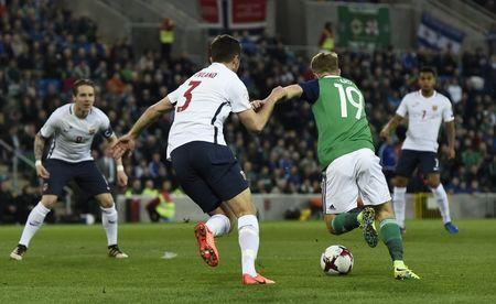 Football Soccer - Northern Ireland v Norway - 2018 World Cup Qualifying European Zone - Group C - Windsor Park, Belfast, Northern Ireland - 26/3/17 Northern Ireland's Jamie Ward scores their first goal Reuters / Clodagh Kilcoyne Livepic