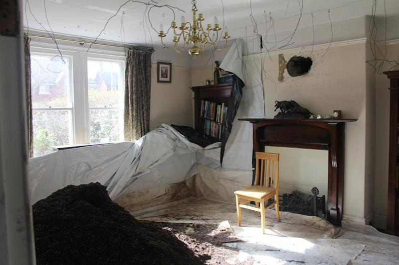 Mr Grieve's living room after the fire