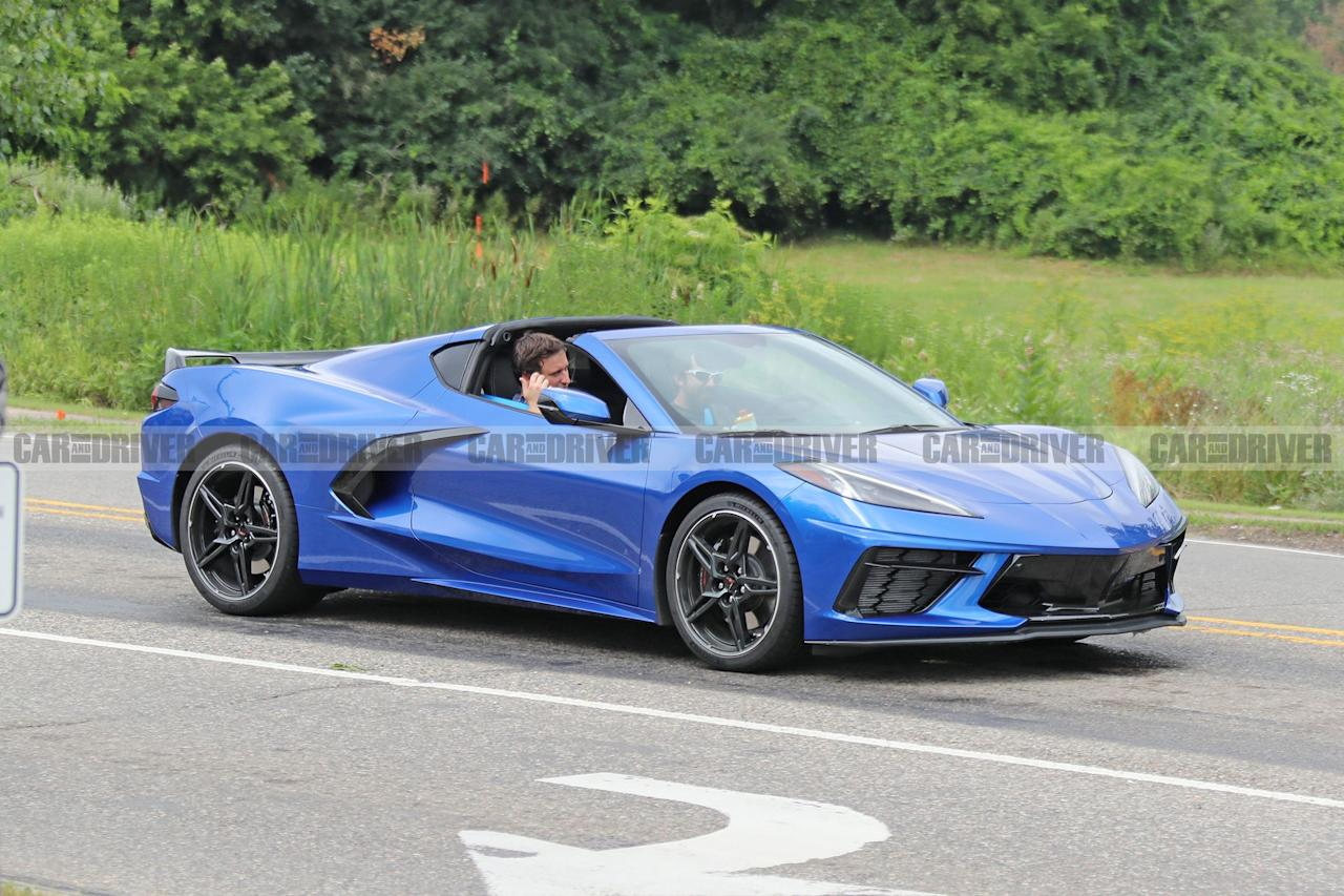 "<p>Not even 24 hours after the reveal of <a href=""https://www.caranddriver.com/news/a28409341/2020-chevy-corvette-c8-mid-engine-photos-info/"" target=""_blank"">the mid-engined 2020 Chevy Corvette C8</a>, our spy photographers have gotten the first shots of <a href=""https://www.caranddriver.com/2020-c8-mid-engine-corvette/"" target=""_blank"">the new Vette</a> driving on real roads completely undisguised. Two different versions of <a href=""https://www.caranddriver.com/chevrolet/corvette"" target=""_blank"">the Corvette</a> were spied: a blue Z51 package car with the targa roof removed, and a gray base model with the roof on. These two C8s give us our first look at some of <a href=""https://www.caranddriver.com/news/a28413258/2020-chevrolet-corvette-c8-colors-trims-features/"" target=""_blank"">the C8's new color and trim options</a> as well as a better feel for how it actually looks in real life.</p>"