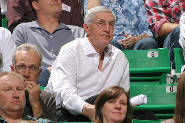 Former head coach of the Utah Jazz Jerry Sloan watches the team play the Dallas Mavericks, at Energy Solutions Arena in Salt Lake City, Utah, in 2012 (AFP Photo/Melissa Majchrzak)