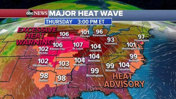 PHOTO: Heat warnings and advisories are likely on Thursday. (ABC News)
